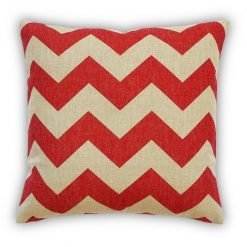 Red ZigZag Cushion Cover Front view showing bold red zig zags