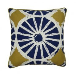 Cushion cover with blue base and white line design