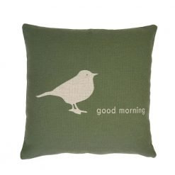 Green cushio cover with white bird and good morning text
