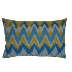 Blue and yellow chevron cushion cover