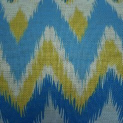 Close up of blue and yellow chevron cushion