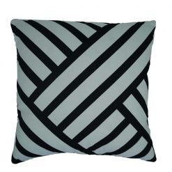 White and black cushion cover in funky print