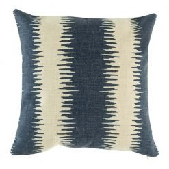 Cushion cover with blue ribbed patterning