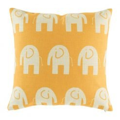 Fun yellow cushion cover with white elephant