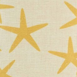 Yellow star fish design shown in detail with natural cushion colour