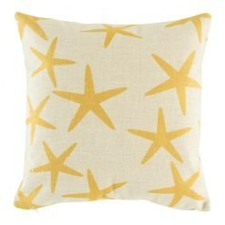 Natural fabric cushion with yellow starfish design