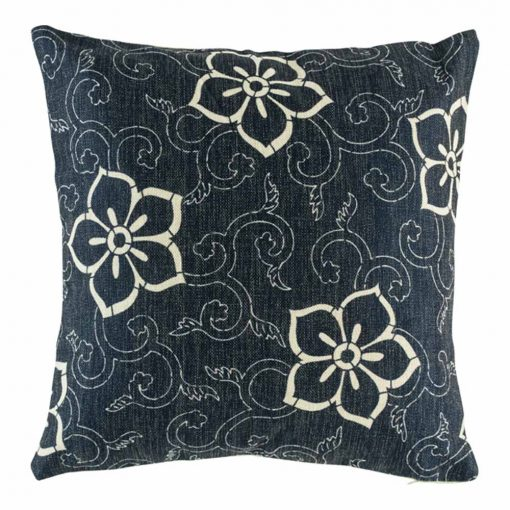 Light floral design on navy cushion cover
