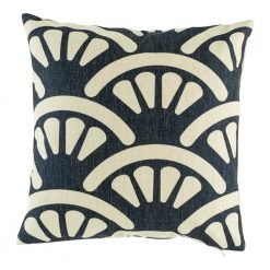 Dark navy cushion cover with fan pattern