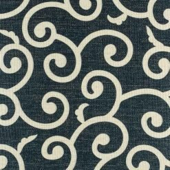 Close up of intricate swirl pattern on cushion cover