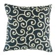 Dark navy cushion cover with light swirling pattern
