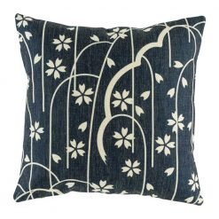 Navy cushion cover with white vine pattern