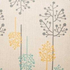 Grey, teal and yellow tree design on cushion cover