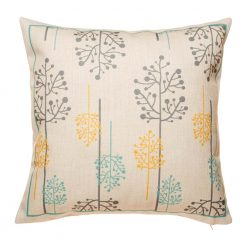 Sleek natural tone cushion cover with contemporary grey yellow blue design