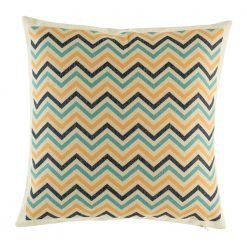 Blue and yellow zig zag pattern on cushion cover