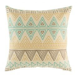Teal, yellow and brown pattern on cushion cover