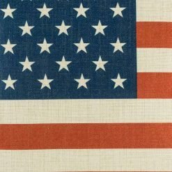 Close up of American Flag print on cushion cover