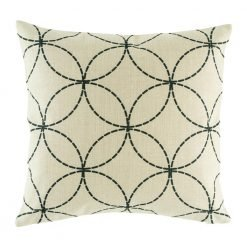 light coloured cushion cover with fine black circles that interlock