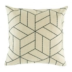 Light cushion cover with fine black woven pattern