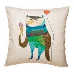 Light coloured cushion with green bear print