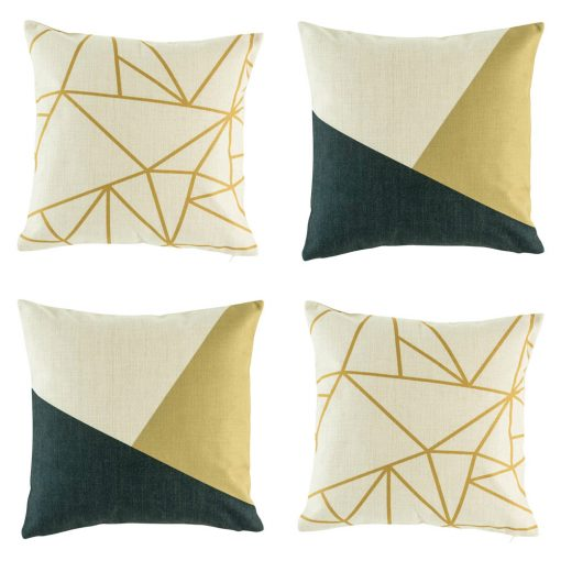 Set of 4 contemporary cushion covers in dark navy and gold