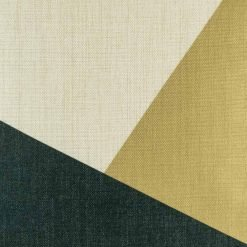Zoomed in view of gold and navy colours on cushion cover