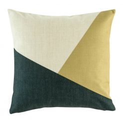 Bold geometric shapes in dark navy and gold