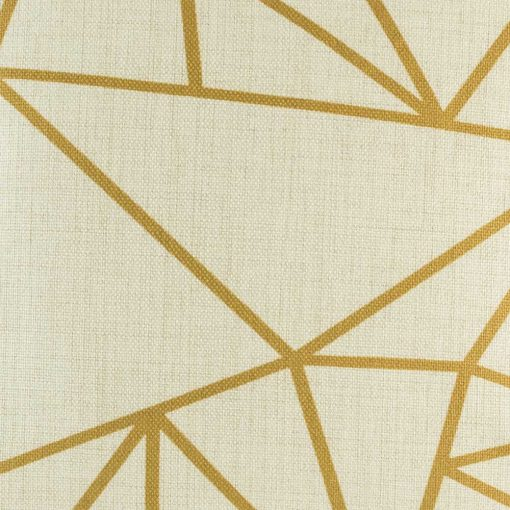 Close up of gold coloured triangle pattern on cushion cover
