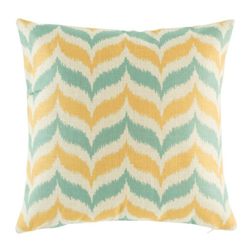 Yellow and green zig zag pattern on cotton cushion cover