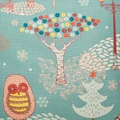 Close up of cushion cover with festive avery design