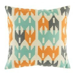 Cushion cover featuring double arrow pattern in teal and orange