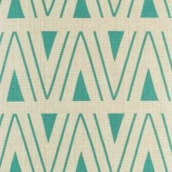 Close up of teal triangle patterned cushion cover