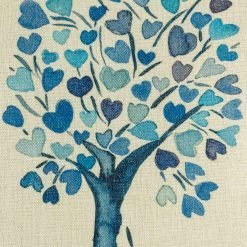 Close up on blue tree pattern on cushion cover