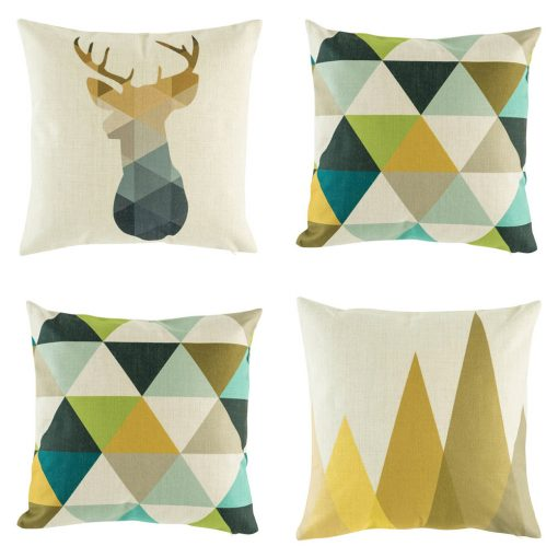 Funky geometric autumn themed cushion covers with browns teals and greys