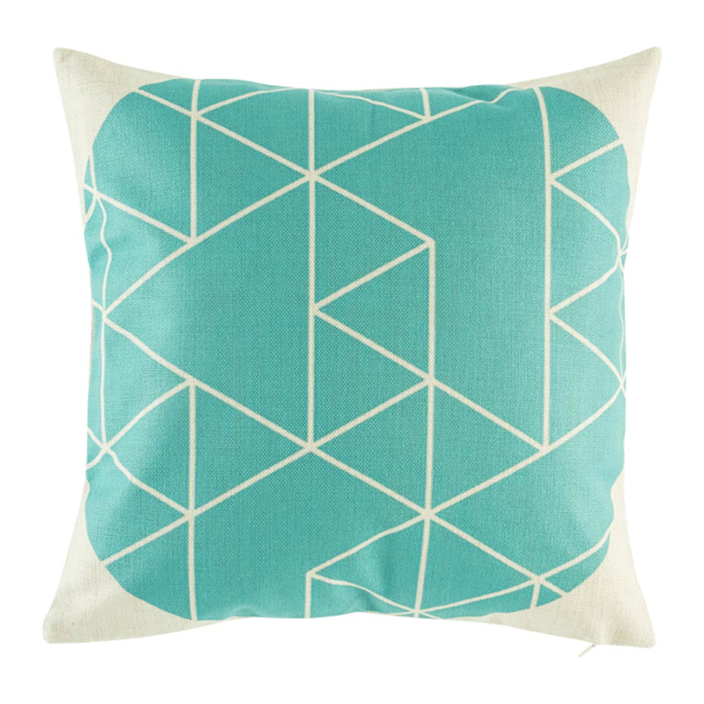 Cushion cover with smart geometric pattern on blue teal