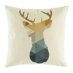 Cushion cover with stag silhouette in geometric design