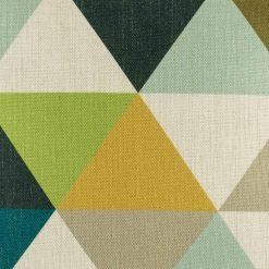 Zoomed in view of triangle pattern on cushion cover in green yellow and teal