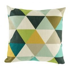 Diamond patterned cushion cover in dark blue browns and yellows