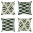 Geometric pattern in dark and light grey on set of 4 cushion covers