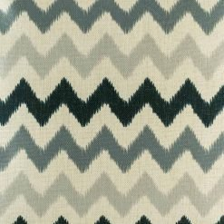 Grey and black zig zag cushion close up