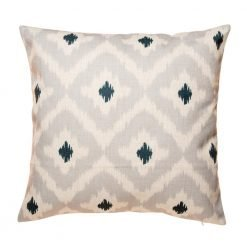 Grey cushion cover with diamond pattern and black polkas