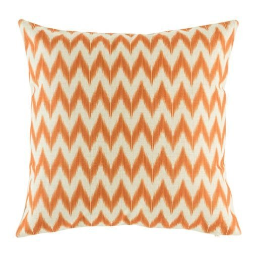 Orange zig zag pattern on cotton linen cushion cover