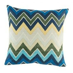Bold blue green cushion cover with zig zag stripes