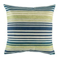 Striped decorative cushion cover with blue purple and green accents