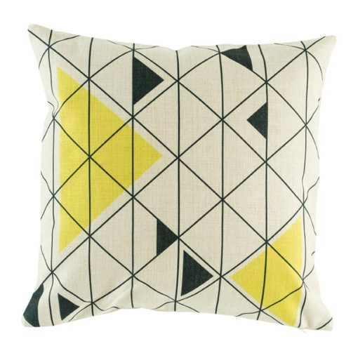 Cushion cover with geometric pattern featuring black and yellow