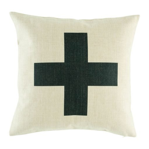 Striking black cross on middle of cushion cover