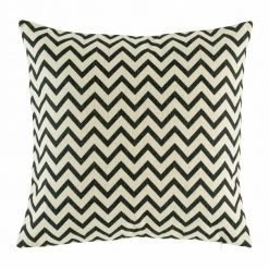 Small black chevron print on cotton linen cushion cover