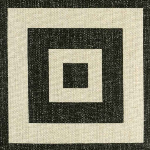 Zoomed view of black square design on cushion cover
