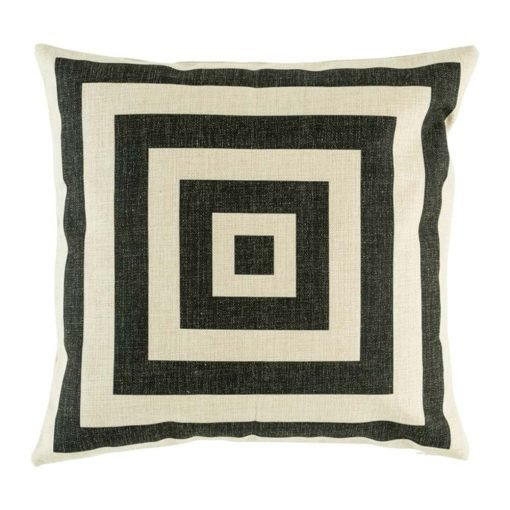 Cotton linen cushion cover with funky black square design