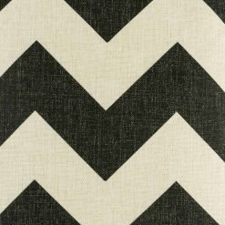 Close up of large black chevron print on cushion cover