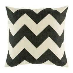 Black chevron cushion cover on cotton linen material